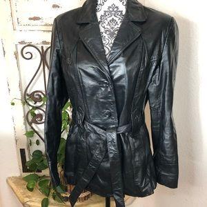 Wilson's leather black waist tie coat